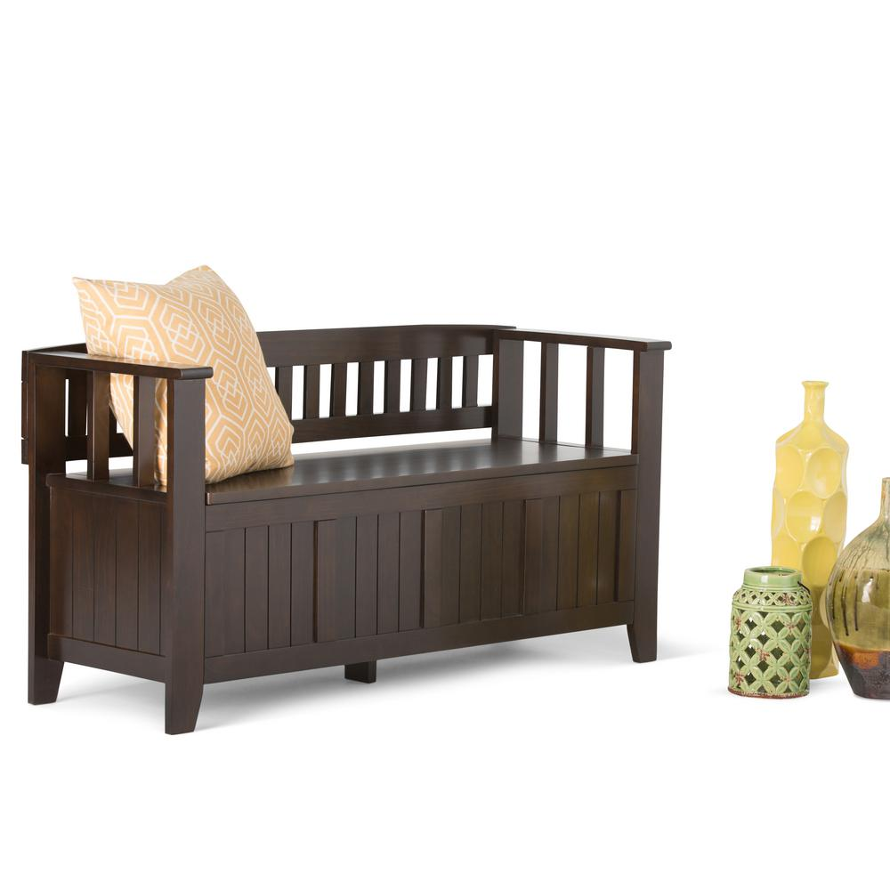 Simpli Home Acadian Dark Tobacco Brown Storage  Bench