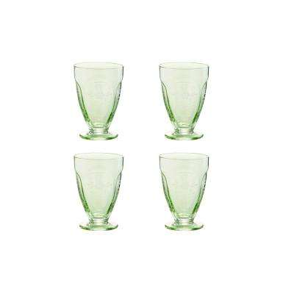 Arcadia Green 4-Piece 7 oz. Etched Vintage Wine Glass