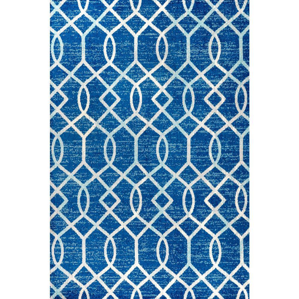 Asilah Ogee Fretwork Blue/Gray 5 ft. x 8 ft. Area Rug