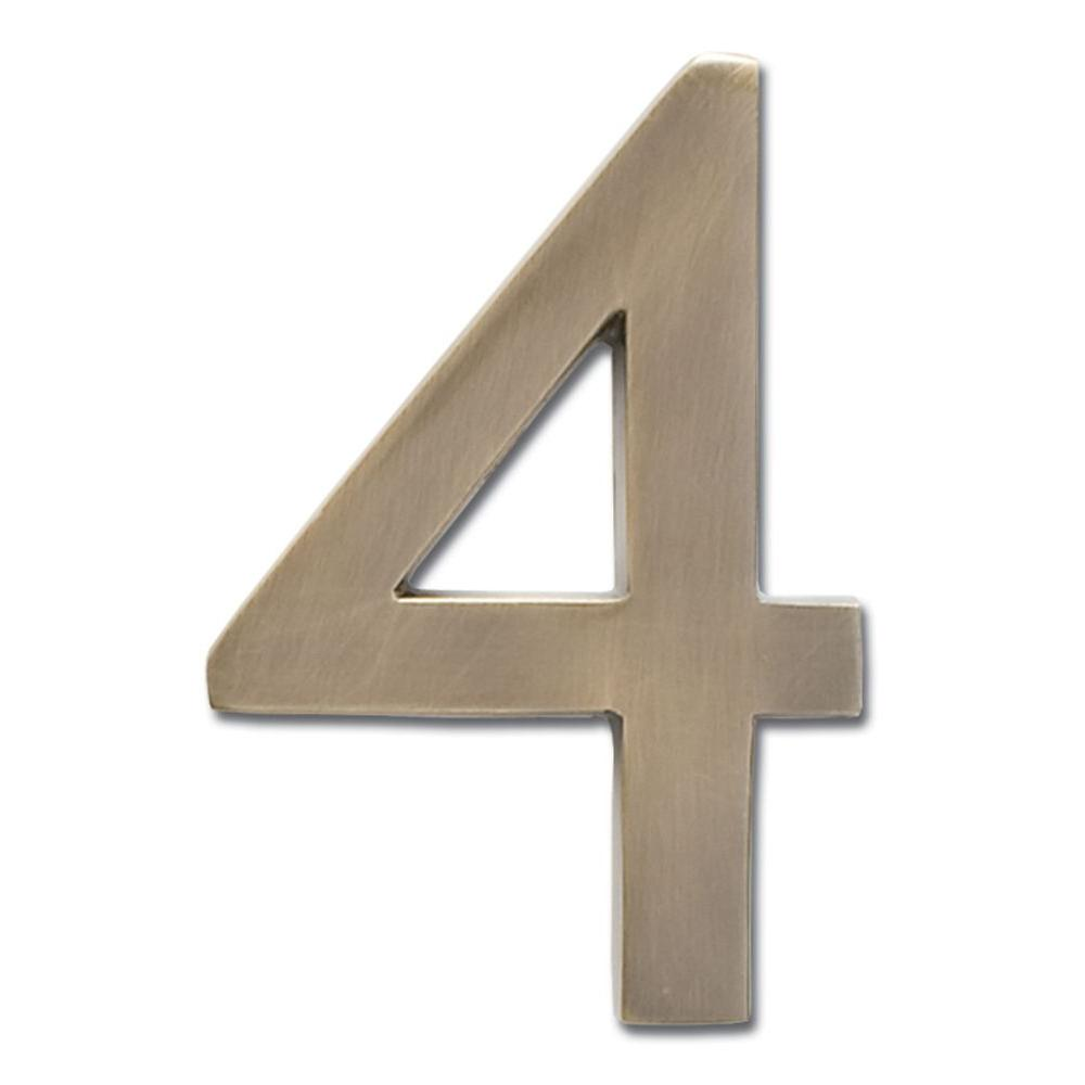 4 in. Antique Brass Floating House Number 4