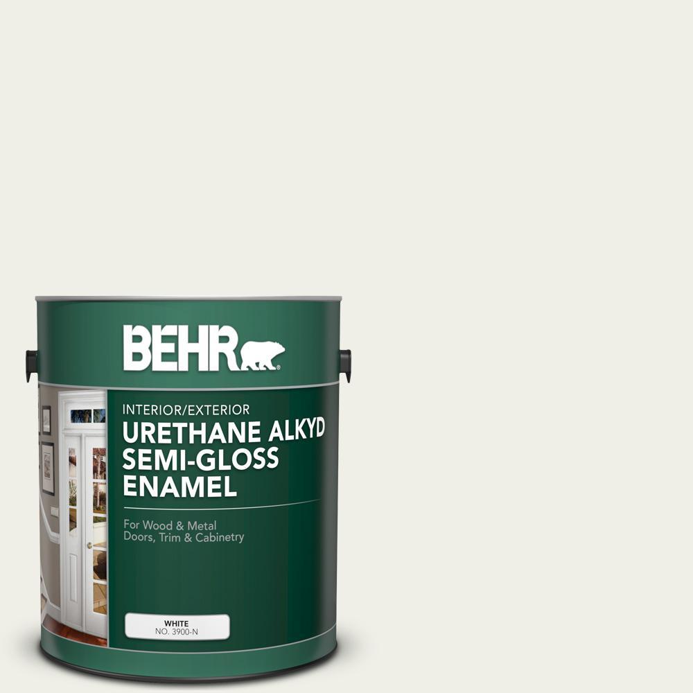 BEHR 1 gal. #ECC-63-2 Aspen Snow Urethane Alkyd Semi-Gloss Enamel Interior/Exterior Paint