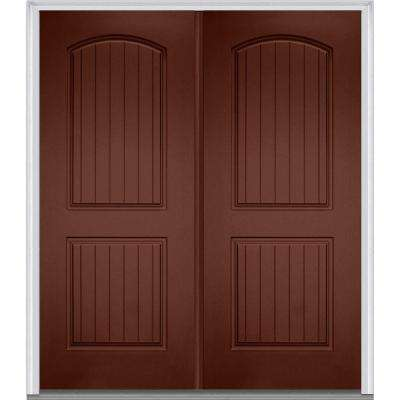 72 in. x 80 in. Classic Left-Hand Inswing 2-Panel Planked Painted Fiberglass Smooth Prehung Front Door with Brickmould