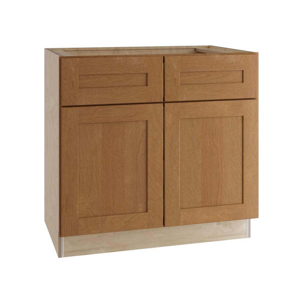 Home Decorators Collection Hargrove Assembled 33x34.5x24 in. Double Door Base Kitchen Cabinet and 2 Drawers in Cinnamon