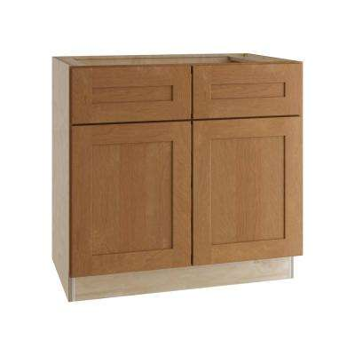 Hargrove Assembled 36x34.5x24 in. Double Door Base Kitchen Cabinet, 2 Drawers and 2 Rollout Trays in Cinnamon