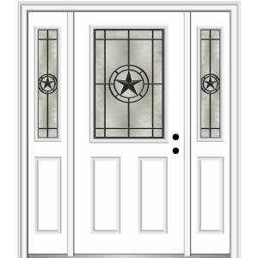 Mmi Door Elegant Star 64 In X 80 In Left Hand 1 2 Lite Decorative Glass White Painted Fiberglass Prehung Front Door Z03745583l The Home Depot