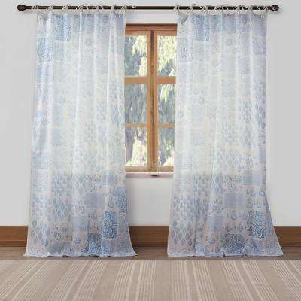 Mayla 42 in. W x 84 in. L Polyester Window Panel in Blue
