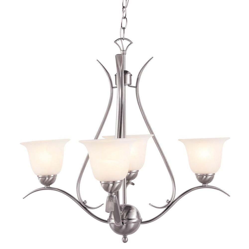 Stewart 4 Light White Incandescent Ceiling Chandelier With Marbleized Glass Shade