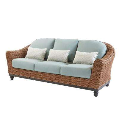 Camden Light Brown Wicker Outdoor Sofa With Sunbrella Canvas Spa Cushions
