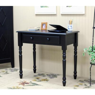 34 in. Rectangular Antique Black Writing Desk with Keyboard Tray