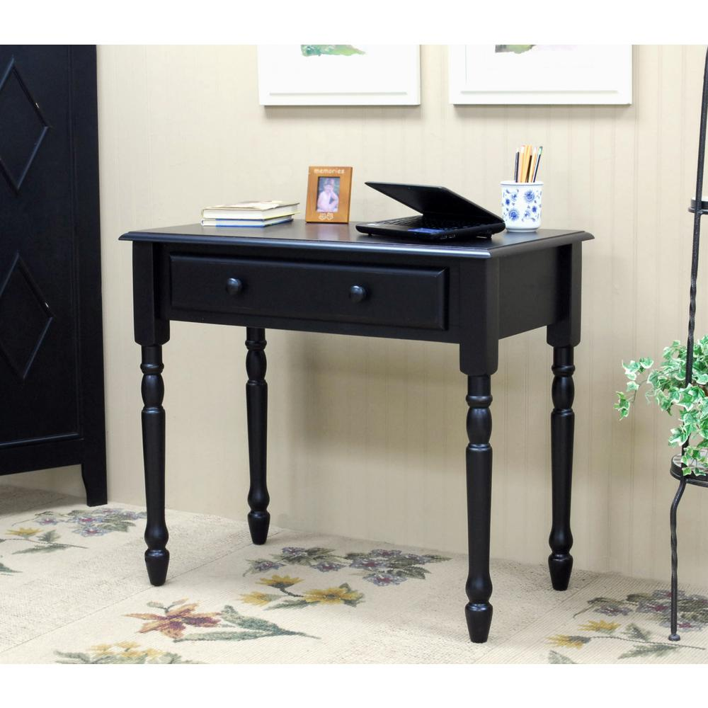 Carolina Cottage Bella Antique Black Desk with Keyboard Tray - Carolina Cottage Bella Antique Black Desk With Keyboard Tray-3419-AB