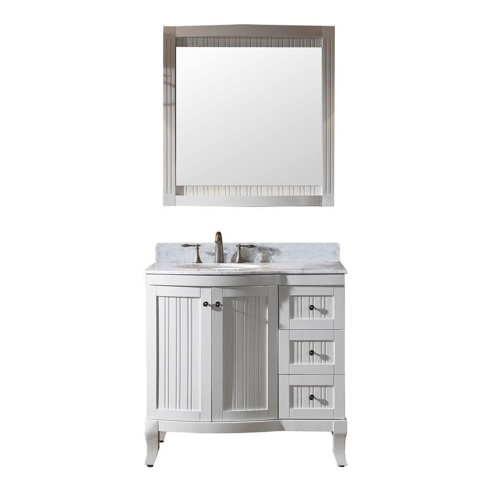 Virtu USA Khaleesi 36 in. Vanity in Antique White with Marble Vanity Top in Italian Carrara White and Mirror