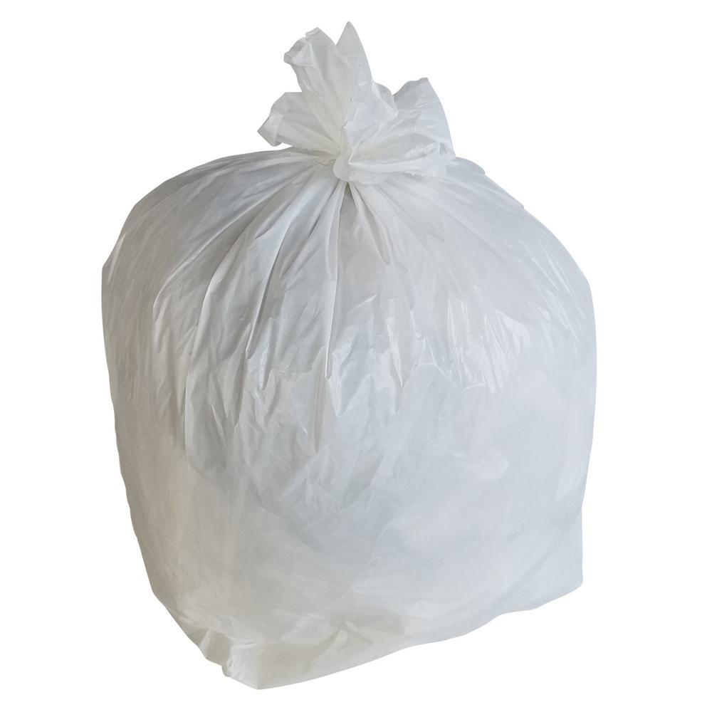 277370c65c9 PlasticMill 30 in. W x 36 in. H 30 Gal. 0.7 Mil White Trash Bags ...