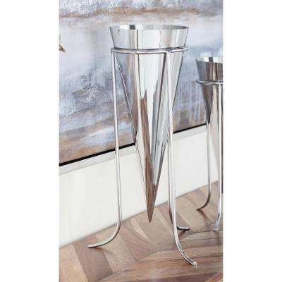 17 in. Stainless Steel Cone Decorative Vase in Silver