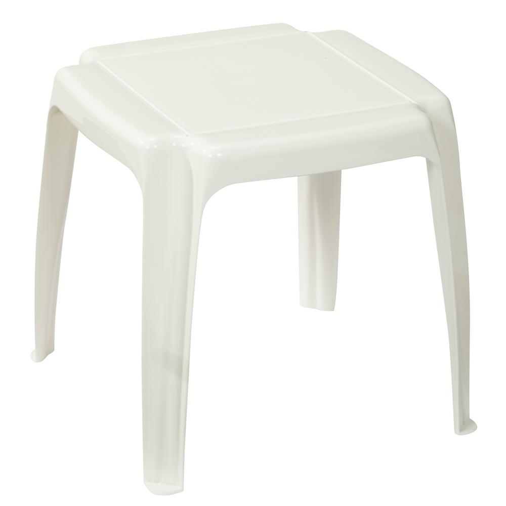 White Stacking Patio Side Table