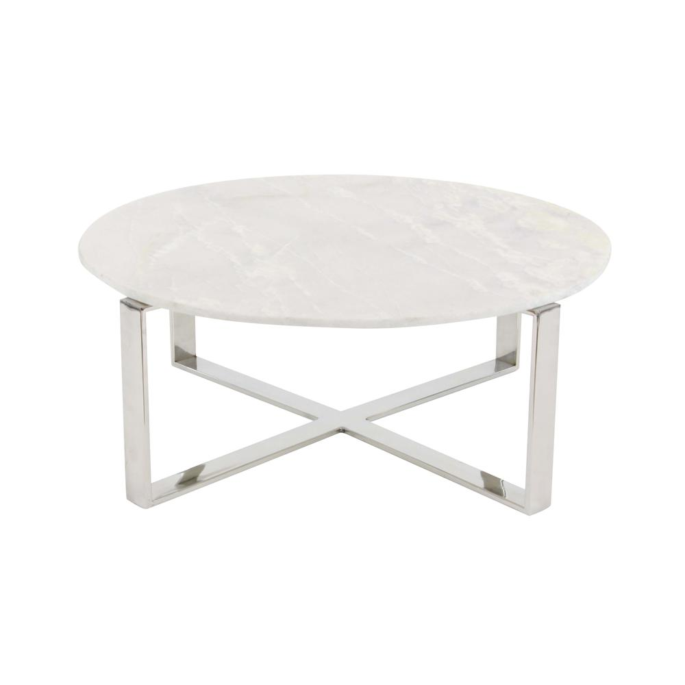 White Marble Coffee Table Set: Litton Lane Modern Marble Top Round Coffee Table-57340