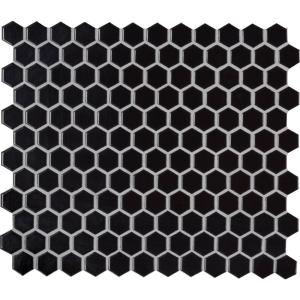 Retro Nero Hexagon 11.73 in. x 10.16 in. x 6mm Glossy Porcelain Mesh-Mounted Mosaic Tile (12.9 sq. ft. / case)
