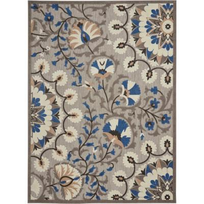 Aloha Patio Grey/Multicolor 8 ft. x 11 ft. Floral Modern Indoor/Outdoor Area Rug