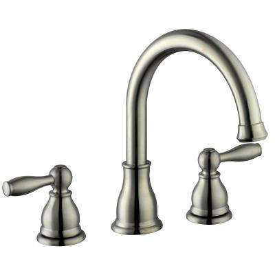 Mandouri 2-Handle Deck Mount Roman Tub Faucet in Brushed Nickel