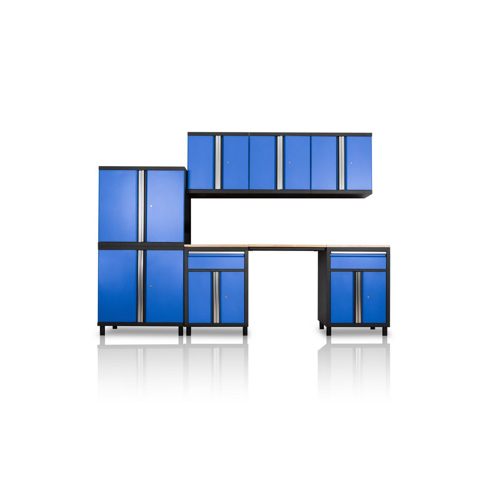 DuraCabinet Pro Series III 81.1 in. H x 104.7 in. W x 18 in. D 23/24-Gauge Steel Wood Worktop Cabinet Set in Blue (8-Piece)