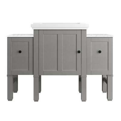 Chambly 48 in. W Vanity in Mohair Grey with Ceramic Vanity Top in White with White Basin