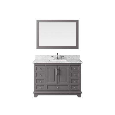 48 in. Vanity in Taupe Grey with Marble Vanity Top in Carrara White with White Basin and Mirror