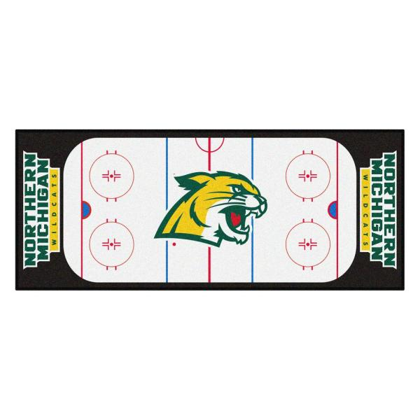 NCAA - Northern Michigan University White 3 ft. x 6 ft. Indoor Hockey Rink Runner Rug
