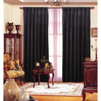 1 in. W x 55 in. L Cotton and Rayon Window Panel in Black Velvet