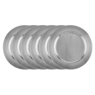 16 in. Stainless Steel Charger Plate - Hammered Rim (Set of 6)