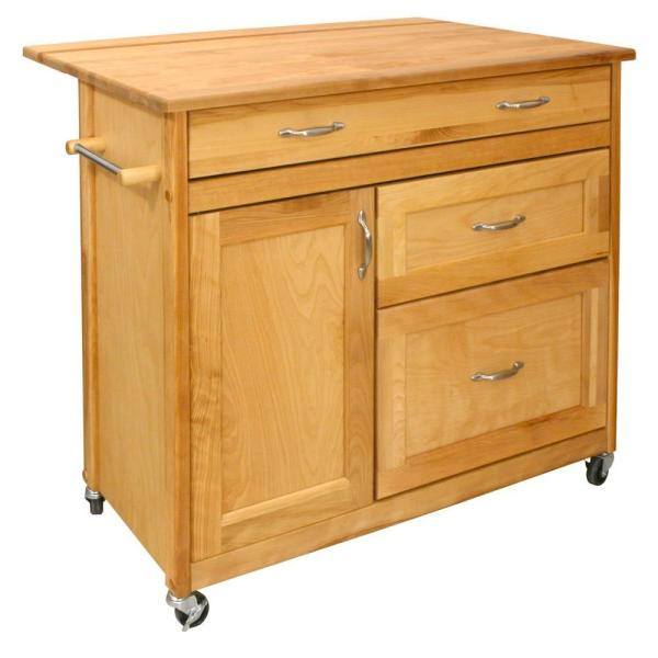 Natural Wood Kitchen Cart with Drop Leaf