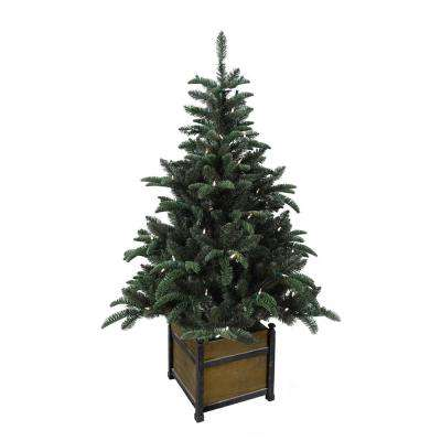 4 ft. Pre-Lit Noble Artificial Christmas Porch Tree with Warm White Battery Operated LED light and Wood Pot