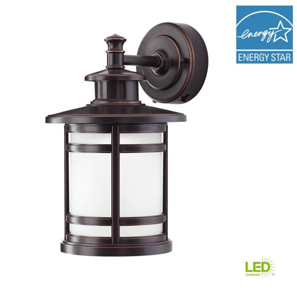 Traditional Oil Rubbed Bronze Motion Activated Smart Security Metal and Glass