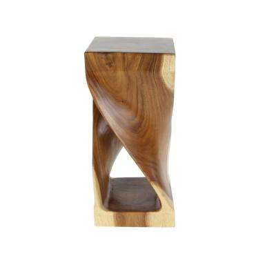 Suar Brown Marbled Wood Side Table