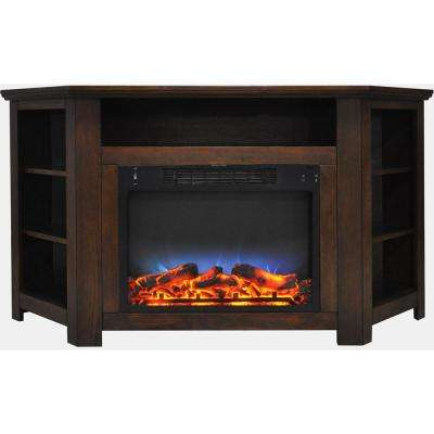 Stratford 56 in. Electric Corner Fireplace in Walnut with LED Multi-Color Display