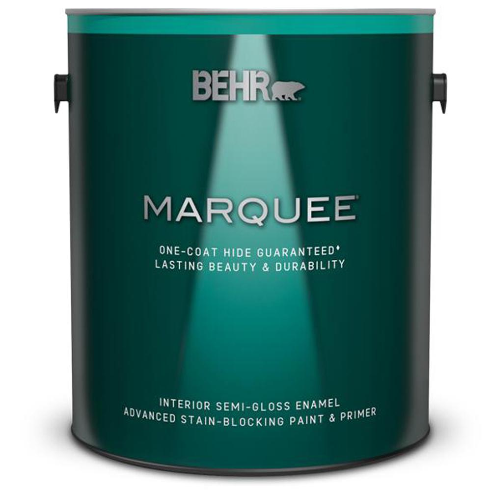 behr marquee 1 gal ultra pure white semi gloss enamel interior paint and primer in one 345001. Black Bedroom Furniture Sets. Home Design Ideas