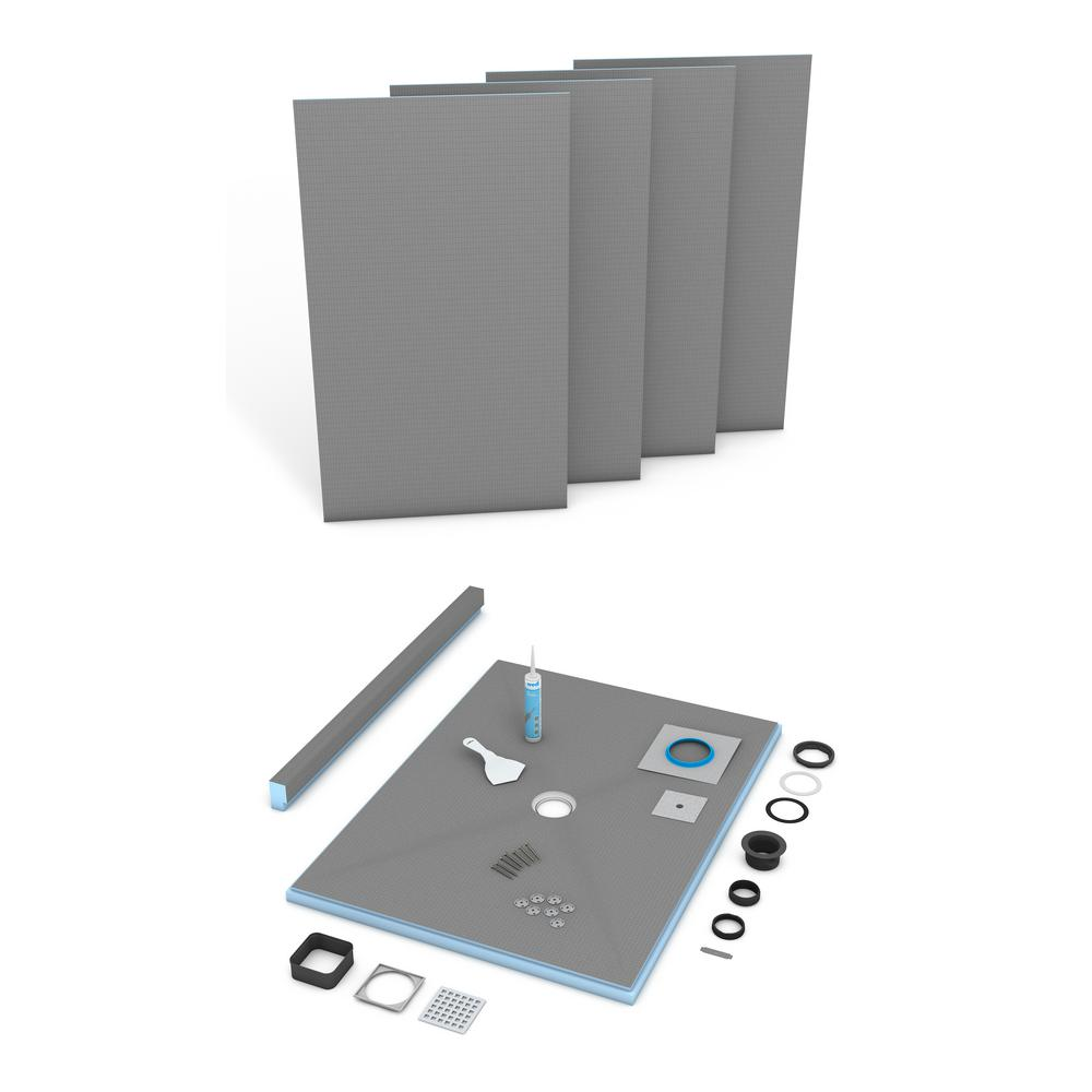 wedi Fundo Primo 36 in. x 72 in. Shower Kit with Center Drain