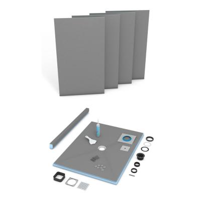 Fundo Primo 36 in. x 72 in. Shower Kit with Center Drain