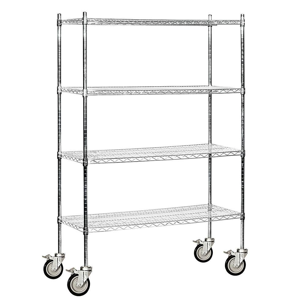 Salsbury Industries 9600M Series 48 in. W x 80 in. H x 18 in. D Industrial Grade Welded Wire Mobile Wire Shelving in Chrome