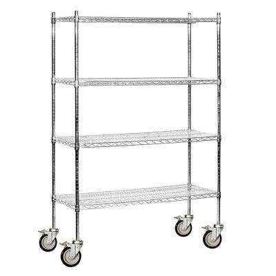 9600M Series 48 in. W x 80 in. H x 18 in. D Industrial Grade Welded Wire Mobile Wire Shelving in Chrome