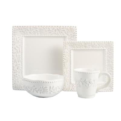 16-Piece White Bianca Leaf Dinnerware Set