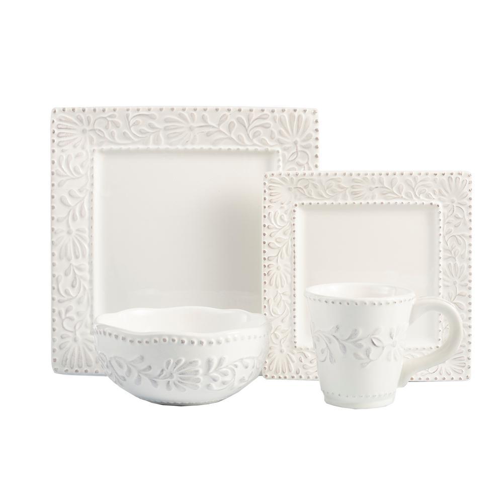 16-Piece White Bianca Leaf Dinnerware Set