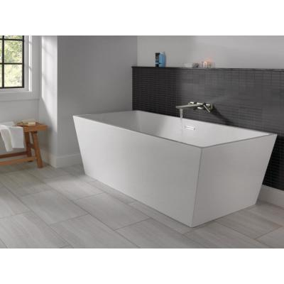 Slade 67 in. Acrylic Flatbottom Bathtub with Integrated Waste in White