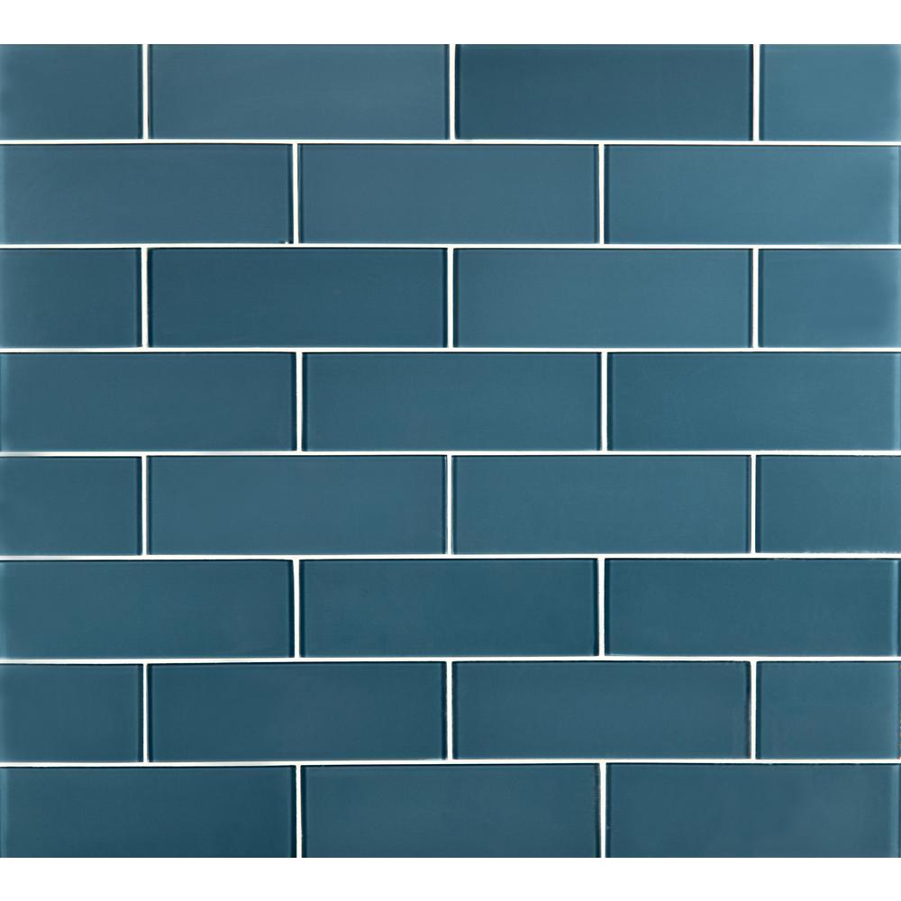 Haiku Sapphire 9 in. x 3 in. x 8 mm Matte Glass Wall Tile ( 3.8 sq. ft. / case )