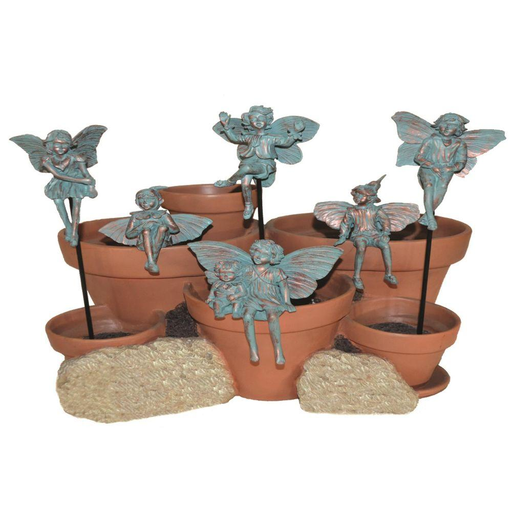 Suffolk Fairies 5 in. Fairy Pot Sitters/Plant Stake Bronze Patina (Set of 6)