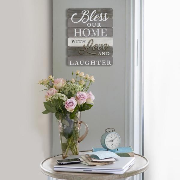Stratton Home Decor Bless Our Home With Love And Laughter Wall Art S07685 The Home Depot