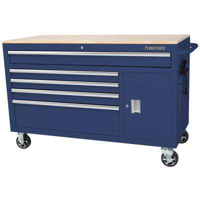 56 in. W x 24.5 in. D 5-Drawer 1-Door Tool Chest Mobile Workbench with Solid Wood Top in Gloss Blue
