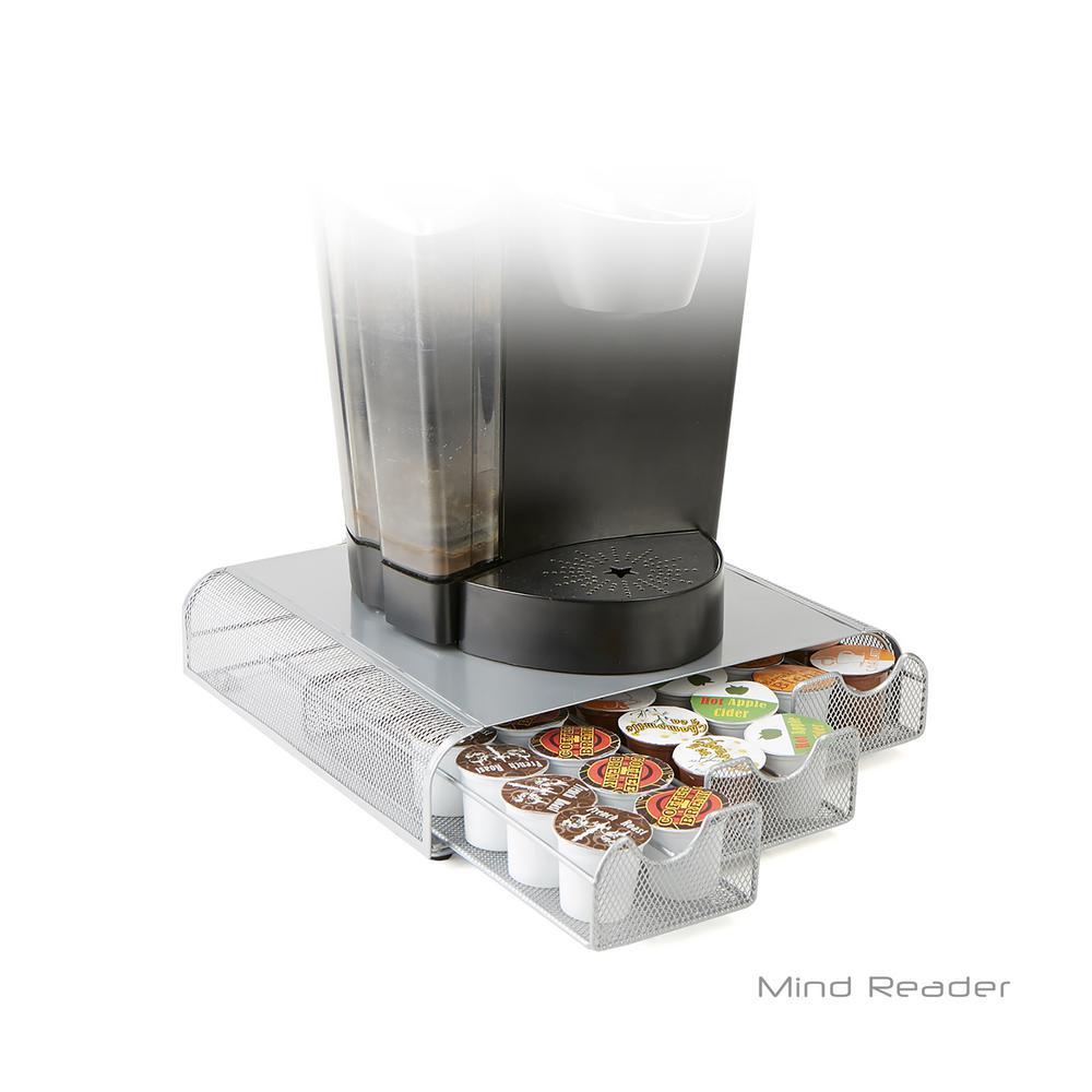 Triple Drawer Mesh K-Cup Single Serve Coffee Pod Drawer, Silver
