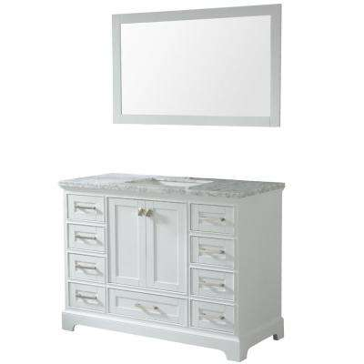 Havana 48 in. W x 22 in. D x 36 in. H Vanity with Marble Top in White with White Basin and Mirror