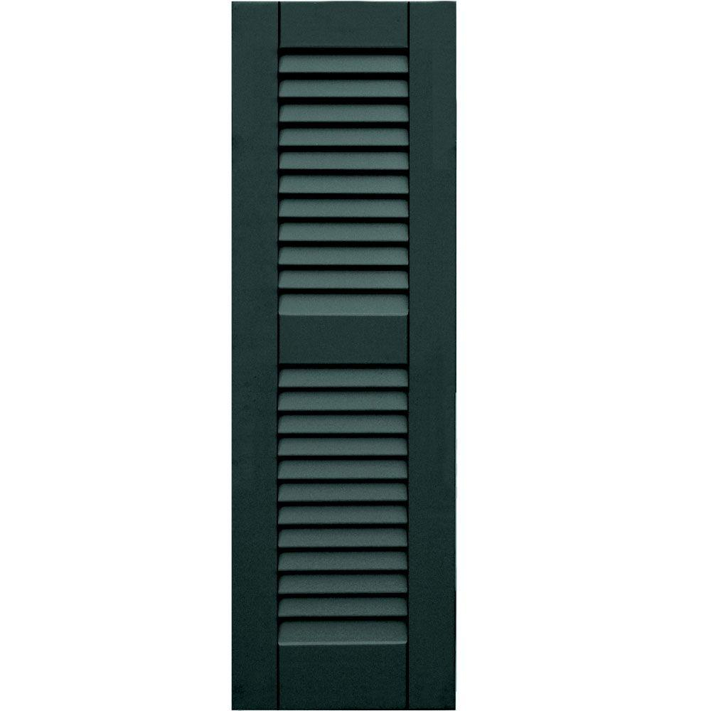 Winworks Wood Composite 12 in. x 38 in. Louvered Shutters Pair #638 Evergreen