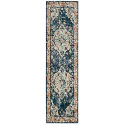 Monaco Navy/Light Blue 2 ft. 2 in. x 12 ft. Runner Rug