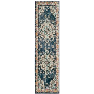 Monaco Navy/Light Blue 2 ft. x 6 ft. Runner Rug